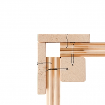 Woodfeeling Sauna Lisa 38mm Kranz ohne Ofen Tür Holz Bild 10