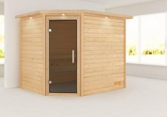 Woodfeeling Sauna Lisa 38mm Kranz ohne Ofen Tür Modern Bild 1