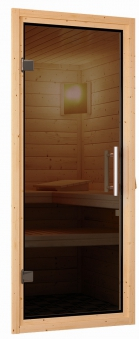 Woodfeeling Sauna Lisa 38mm Kranz ohne Ofen Tür Modern Bild 6