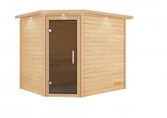 Woodfeeling Sauna Lisa 38mm Kranz ohne Ofen Tür Modern Bild 10