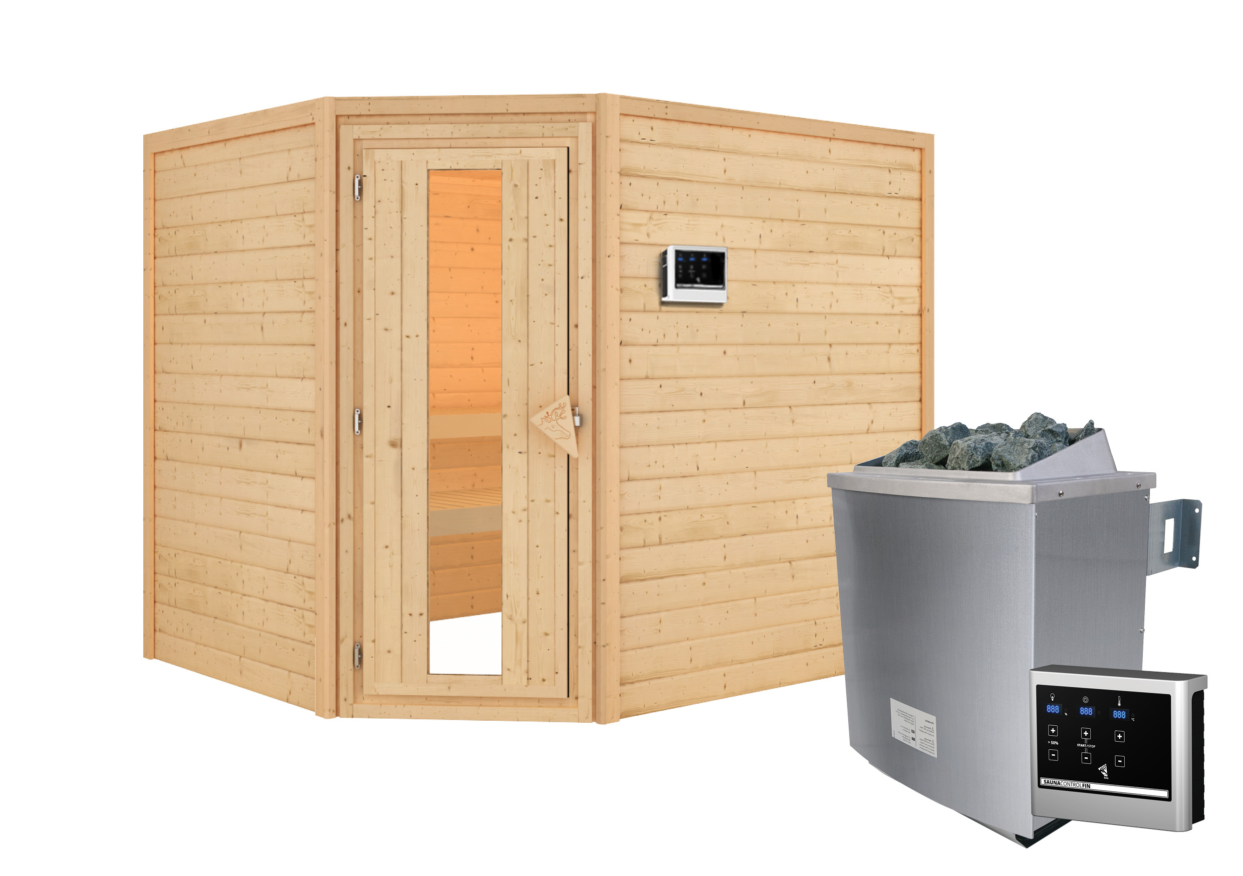 Woodfeeling Sauna Lisa 38mm Ofen 9kW extern Tür Holz Bild 4