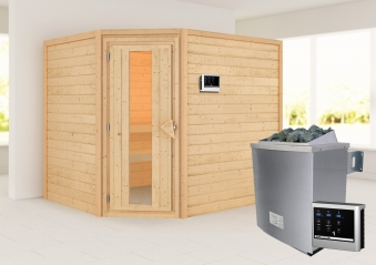 Woodfeeling Sauna Lisa 38mm Ofen 9kW extern Tür Holz Bild 1
