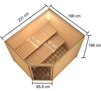 Woodfeeling Sauna Lisa 38mm Ofen 9kW extern Tür Holz Bild 11