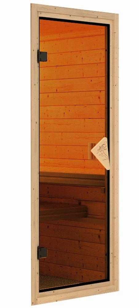 Woodfeeling Sauna Lisa 38mm Ofen 9kW intern Tür Classic Bild 5