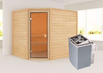 Woodfeeling Sauna Lisa 38mm Ofen 9kW intern Tür Classic Bild 1