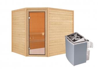 Woodfeeling Sauna Lisa 38mm Ofen 9kW intern Tür Classic Bild 3