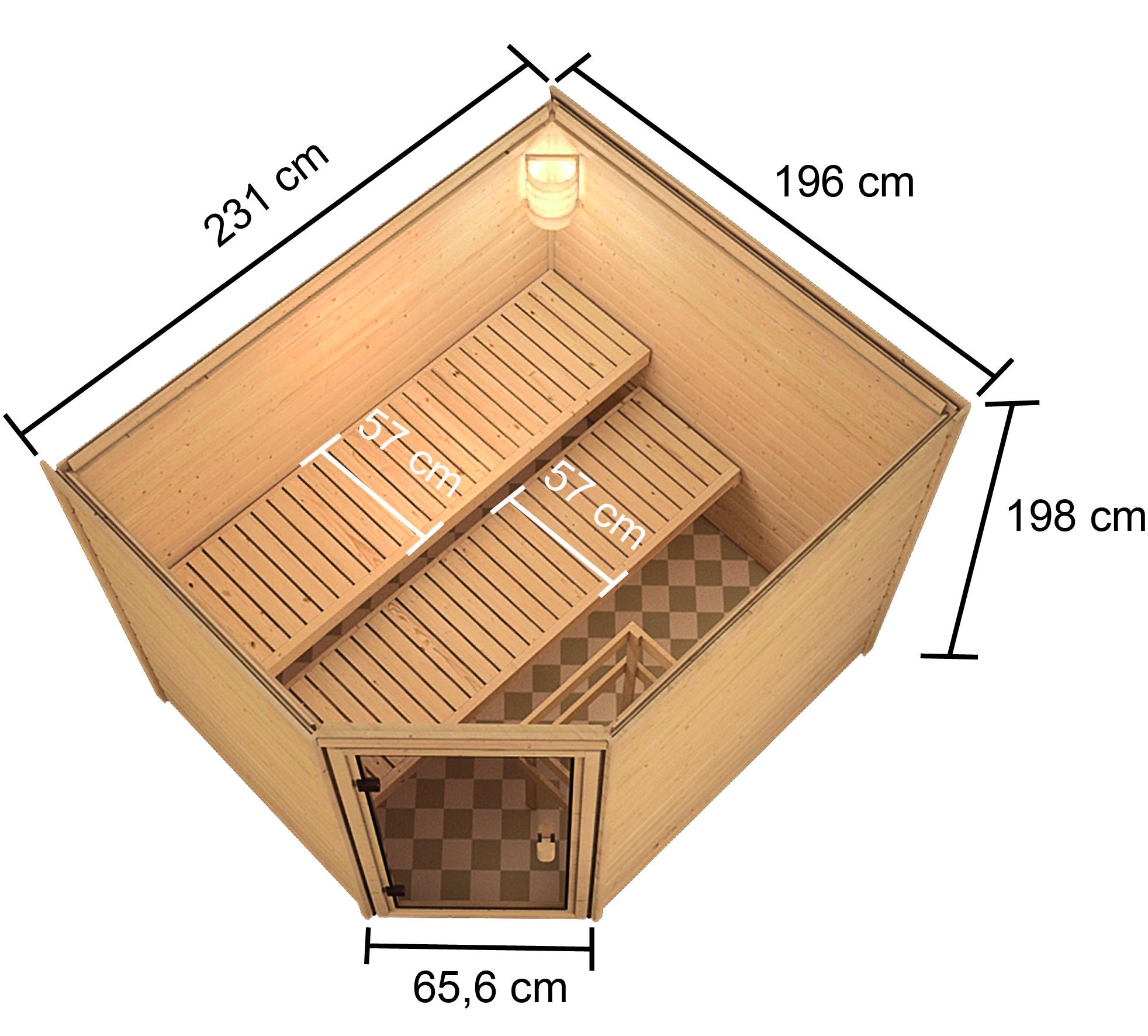 Woodfeeling Sauna Lisa 38mm Ofen 9kW intern Tür Modern Bild 11