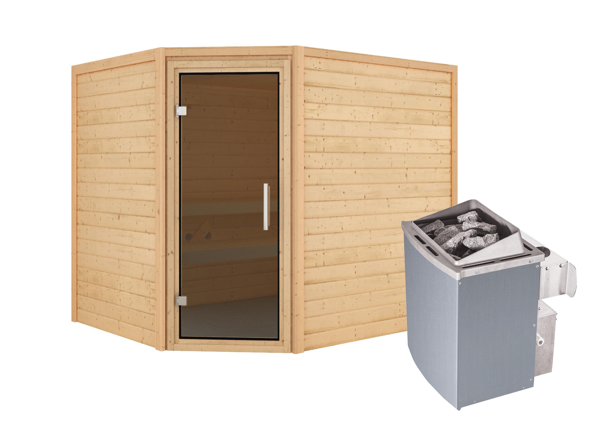 Woodfeeling Sauna Lisa 38mm Ofen 9kW intern Tür Modern Bild 5