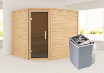 Woodfeeling Sauna Lisa 38mm Ofen 9kW intern Tür Modern Bild 1