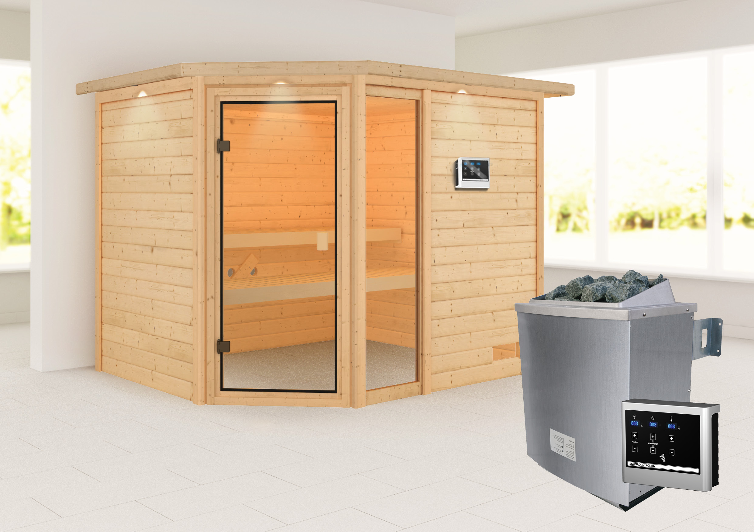Woodfeeling Sauna Lola 38mm Dachkranz Saunaofen 9 kW extern Bild 1