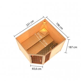 Woodfeeling Sauna Lola 38mm Dachkranz Saunaofen 9 kW extern Bild 11