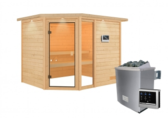 Woodfeeling Sauna Lola 38mm Dachkranz Saunaofen 9 kW extern Bild 12
