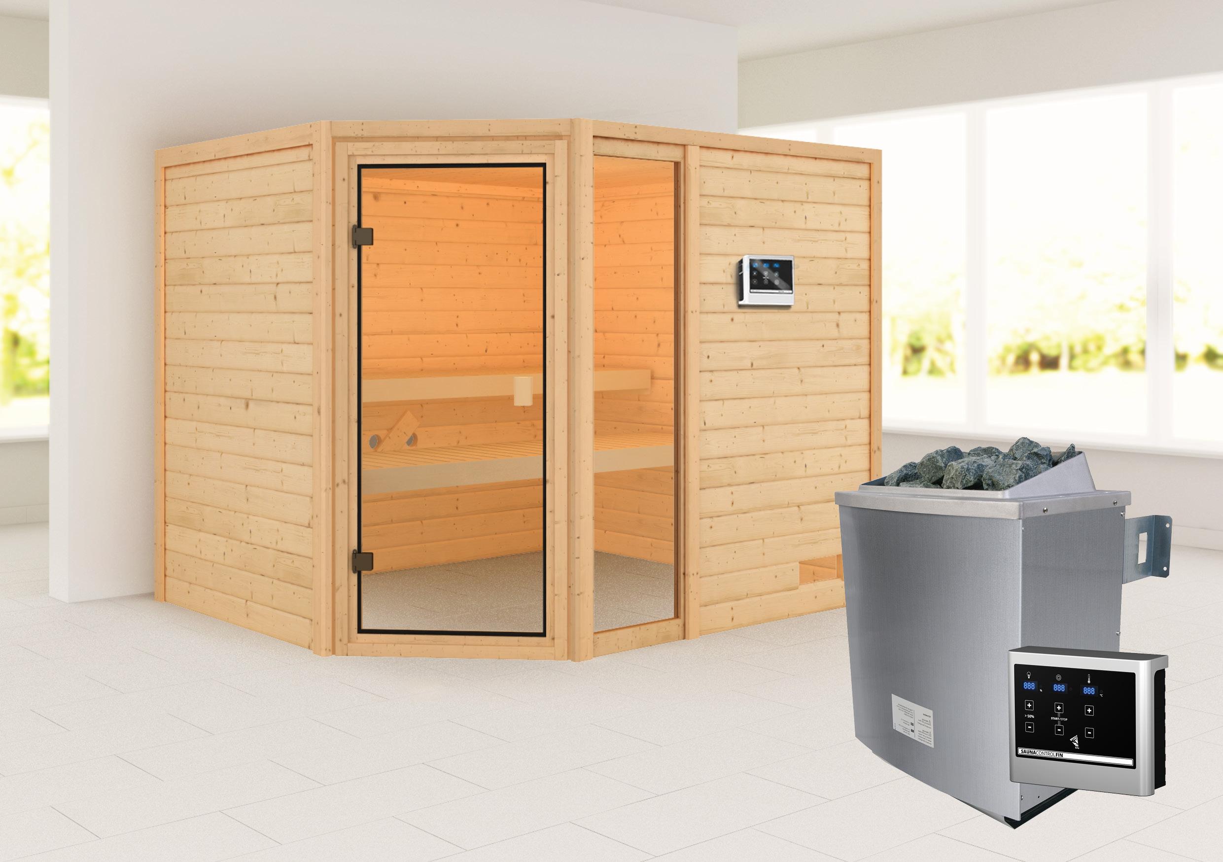 Woodfeeling Sauna Lola 38mm Saunaofen 9 kW extern Bild 1
