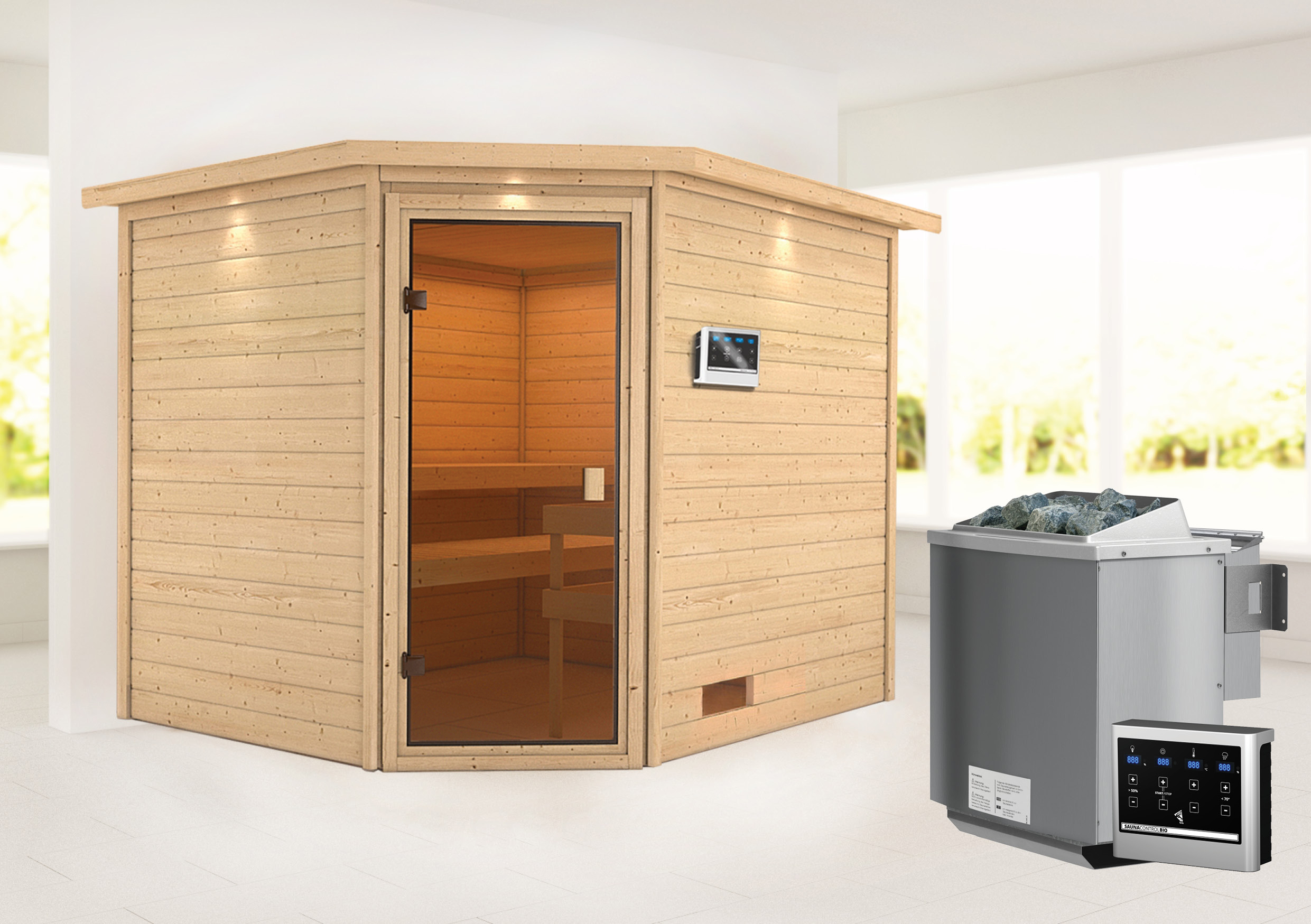 Woodfeeling Sauna Lotta 38mm Dachkranz Bio Saunaofen 9 kW extern Bild 1