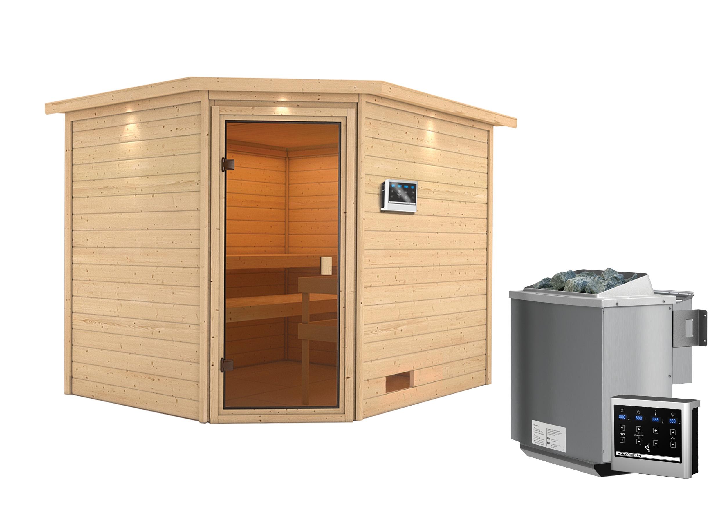 Woodfeeling Sauna Lotta 38mm Dachkranz Bio Saunaofen 9 kW extern Bild 12