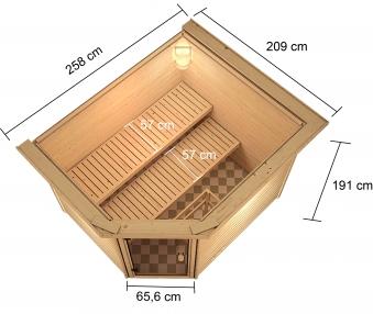 Woodfeeling Sauna Lotta 38mm Dachkranz Bio Saunaofen 9 kW extern Bild 5