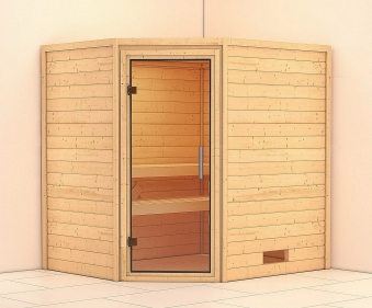 Woodfeeling Sauna Mia 38mm ohne Saunaofen Klarglas Tür Bild 1