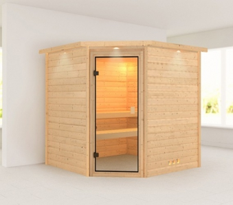 WoodFeeling Sauna Nina 38mm Dachkranz ohne Saunaofen Classic Tür Bild 1
