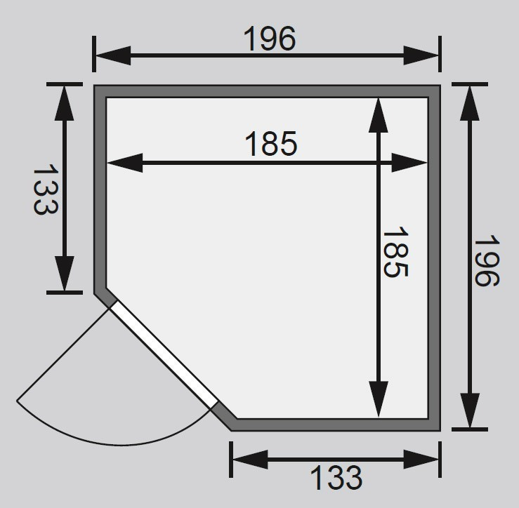 WoodFeeling Sauna Nina 38mm ohne Saunaofen Klarglas Tür Bild 2