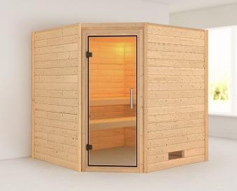 WoodFeeling Sauna Nina 38mm ohne Saunaofen Klarglas Tür Bild 1