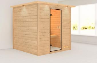 massivholzsauna nora 38 mm mit dachkranz ohne saunaofen bei. Black Bedroom Furniture Sets. Home Design Ideas