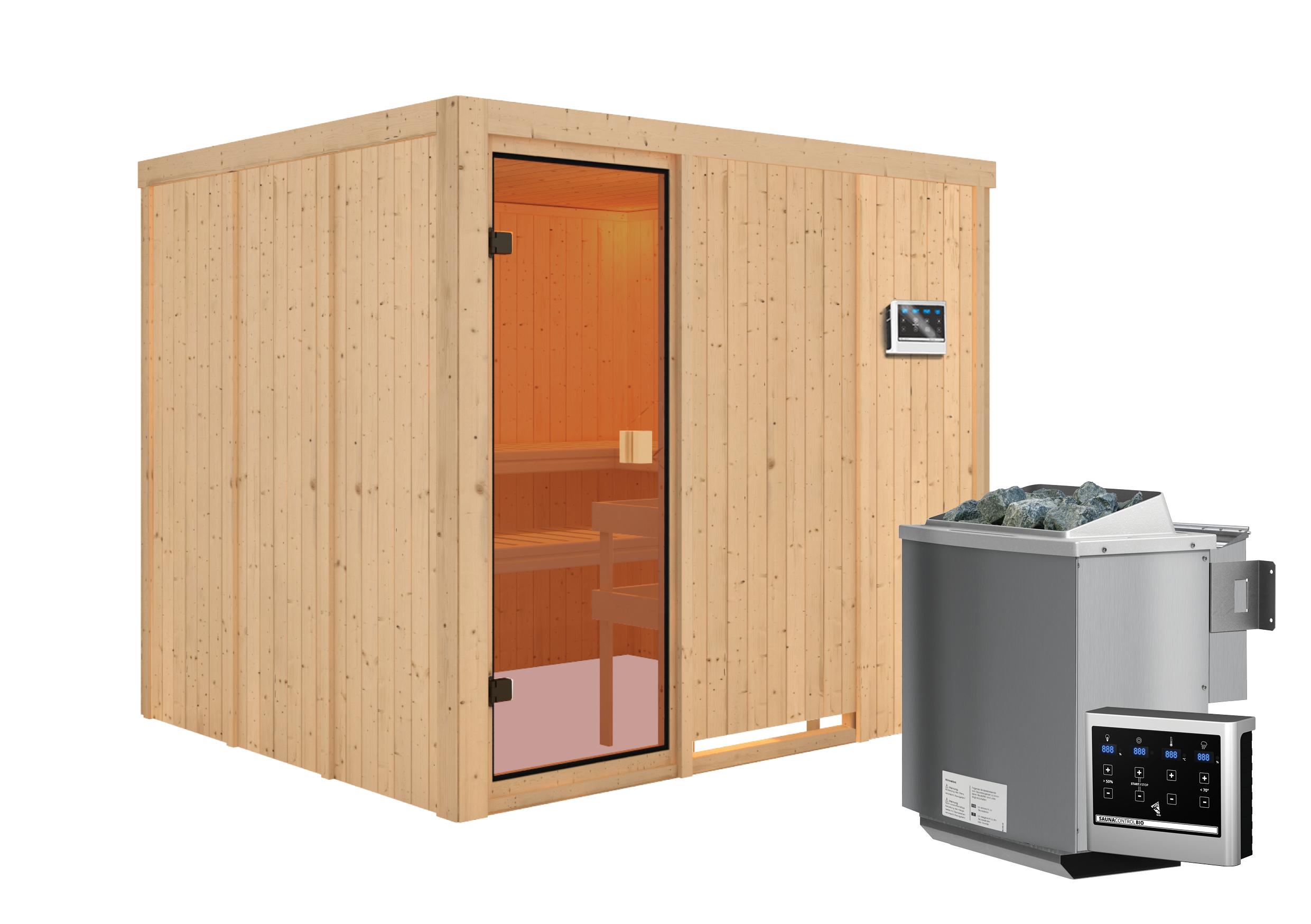 Woodfeeling Sauna Nybro 68mm Bio Saunaofen 9kW extern Bild 9