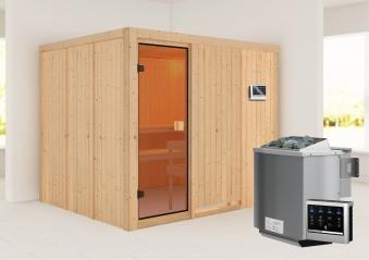 Woodfeeling Sauna Nybro 68mm Bio Saunaofen 9kW extern Bild 1