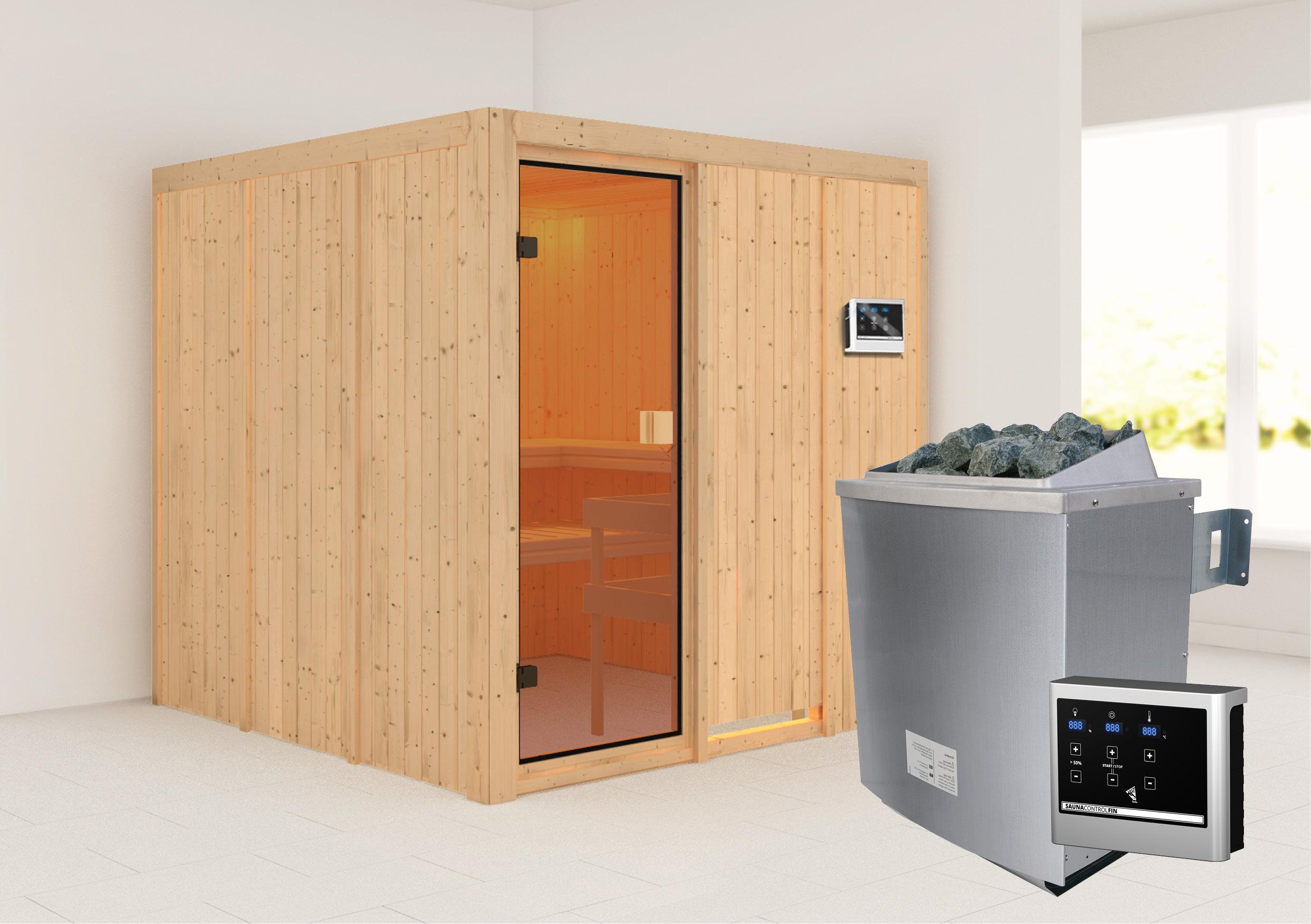 Woodfeeling Sauna Oulu 68mm Saunaofen 9kW extern Bild 1