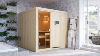 Woodfeeling Sauna Oulu 68mm Saunaofen 9kW extern Bild 12
