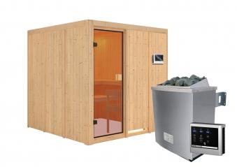 Woodfeeling Sauna Oulu 68mm Saunaofen 9kW extern Bild 5