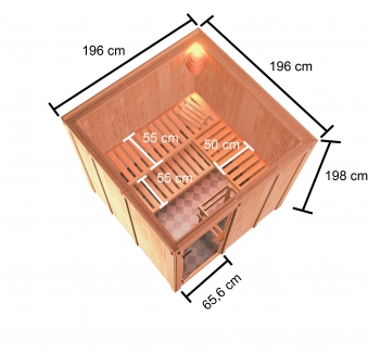 Woodfeeling Sauna Oulu 68mm Saunaofen 9kW extern Bild 7