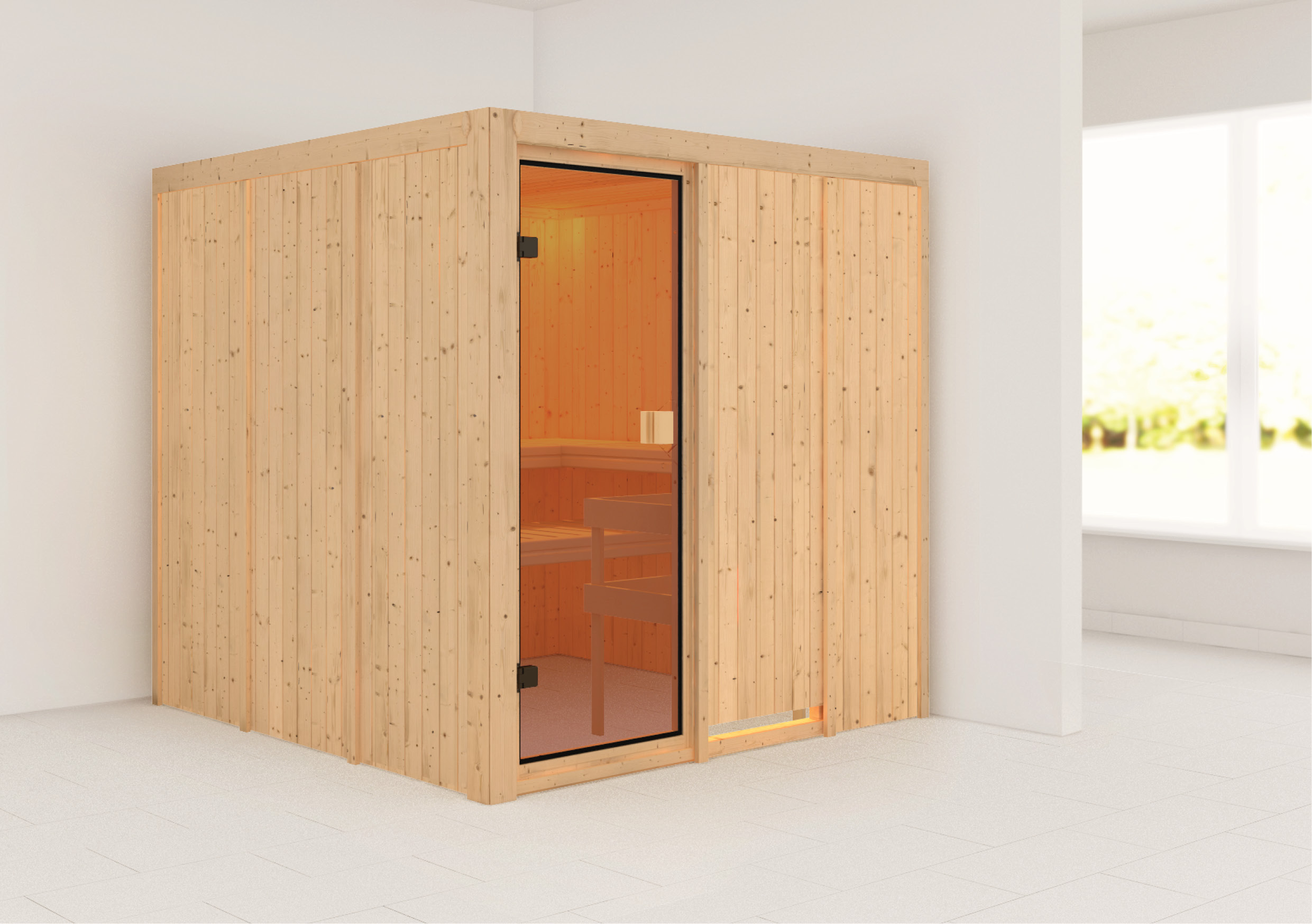 Woodfeeling Sauna Oulu 68mm ohne Saunaofen Bild 1