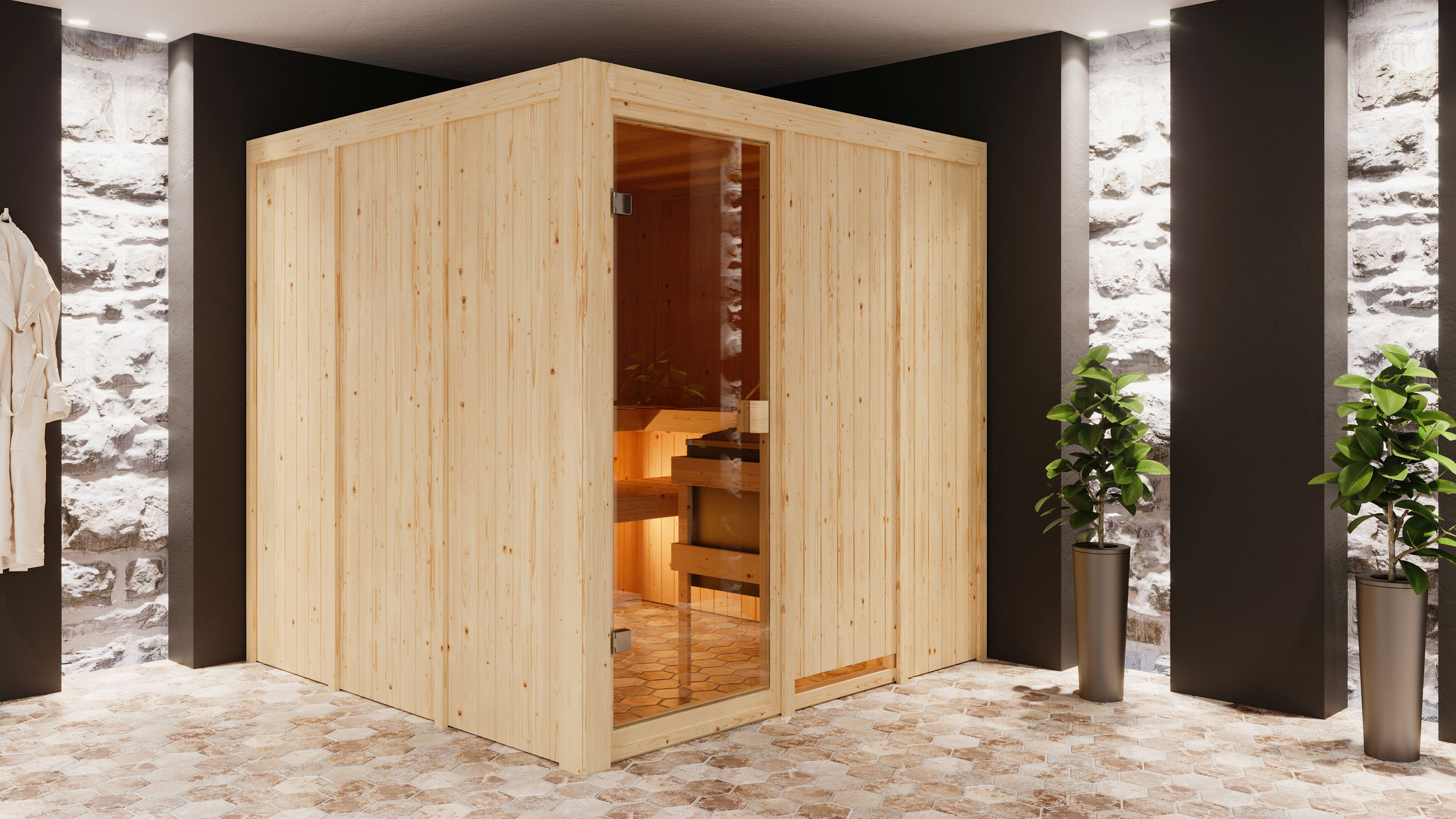 Woodfeeling Sauna Oulu 68mm ohne Saunaofen Bild 6