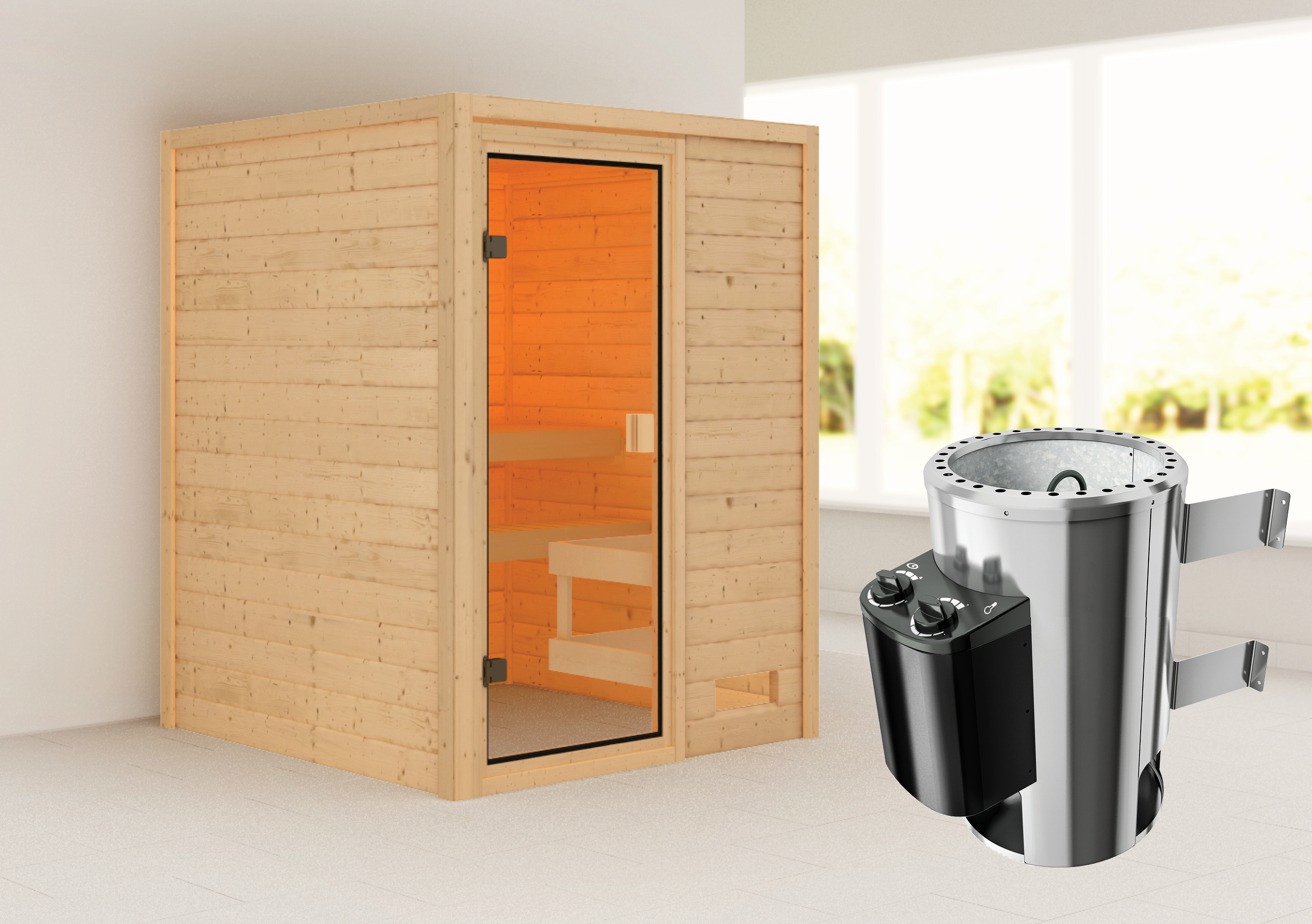 Woodfeeling Sauna Sandra 38mm 230V Saunaofen 3,6 kW intern Bild 1