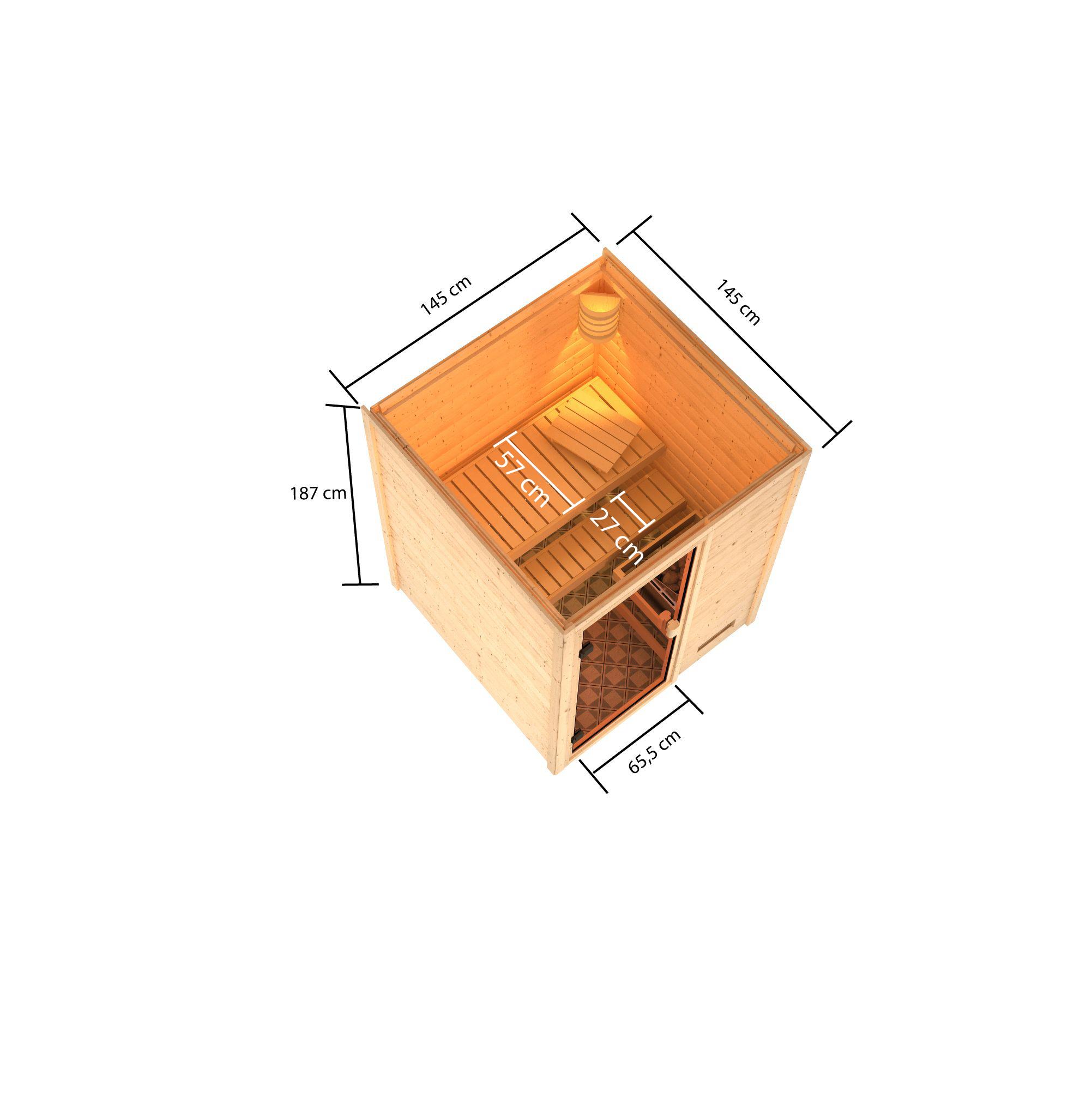 Woodfeeling Sauna Sandra 38mm 230V Saunaofen 3,6 kW intern Bild 5