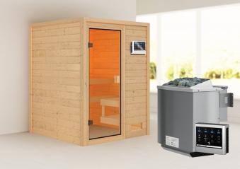 Woodfeeling Sauna Sandra 38mm Bio Saunaofen 9 kW extern Bild 1