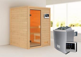 Woodfeeling Sauna Sandra 38mm Saunaofen 9 kW extern Bild 1