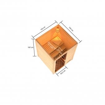 Woodfeeling Sauna Sandra 38mm Saunaofen 9 kW extern Bild 2