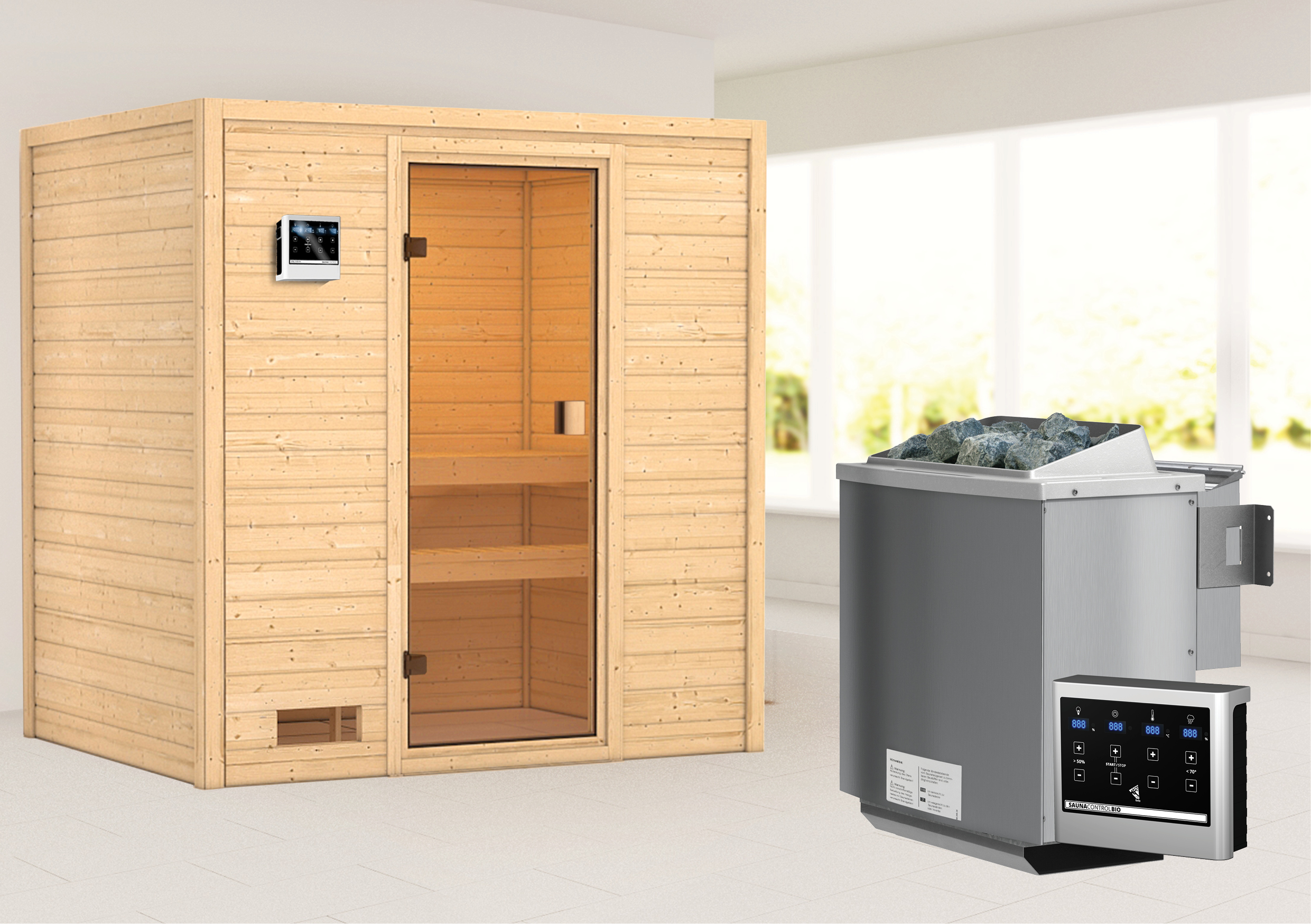 Woodfeeling Sauna Selena 38mm Bio Saunaofen 9 kW extern Bild 1