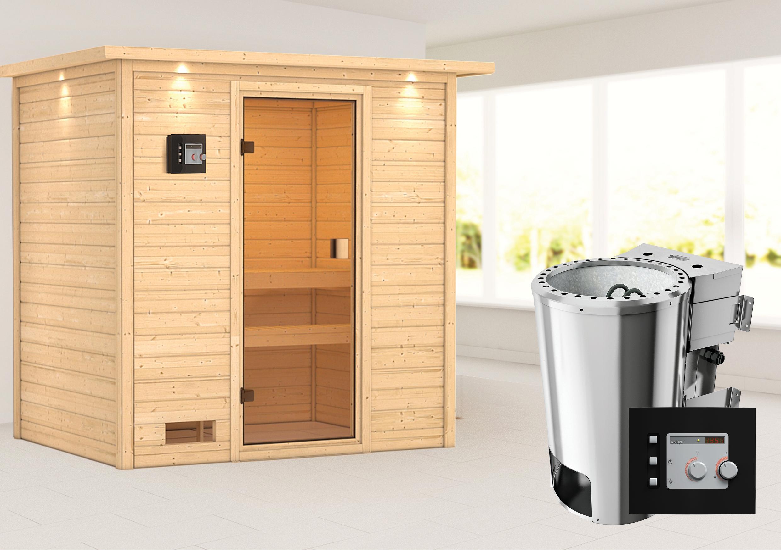 Woodfeeling Sauna Selena 38mm Dachkranz 230V Bio Saunaofen 3,6 kW ext. Bild 1