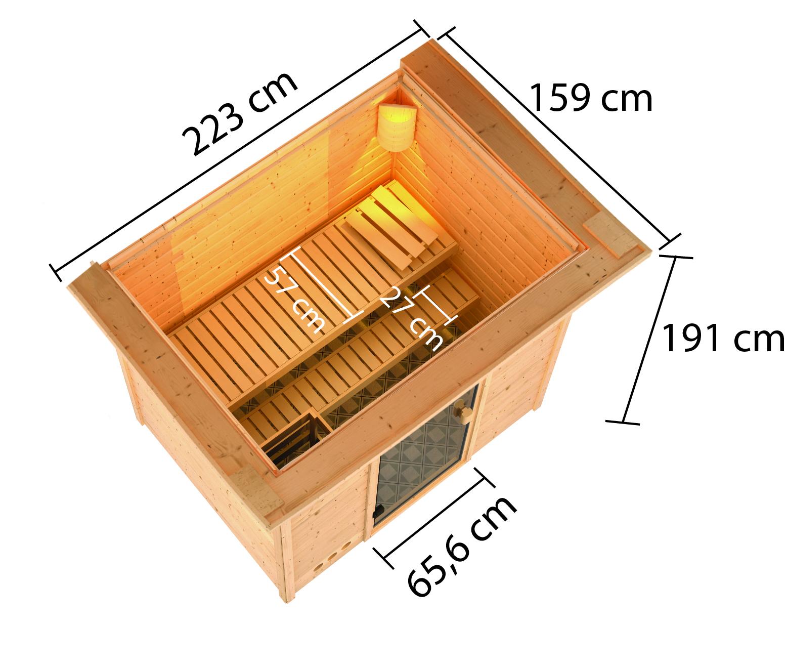 Woodfeeling Sauna Selena 38mm Dachkranz 230V Bio Saunaofen 3,6 kW ext. Bild 2
