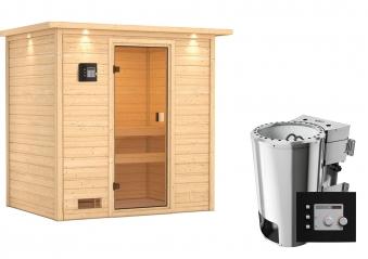 Woodfeeling Sauna Selena 38mm Dachkranz 230V Bio Saunaofen 3,6 kW ext. Bild 8