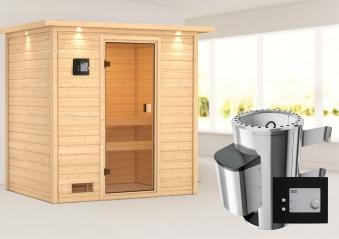 Woodfeeling Sauna Selena 38mm Dachkranz 230V Saunaofen 3,6 kW extern Bild 1