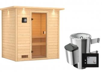 Woodfeeling Sauna Selena 38mm Dachkranz 230V Saunaofen 3,6 kW extern Bild 8