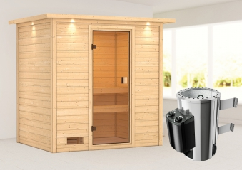 Woodfeeling Sauna Selena 38mm Dachkranz 230V Saunaofen 3,6 kW intern Bild 1