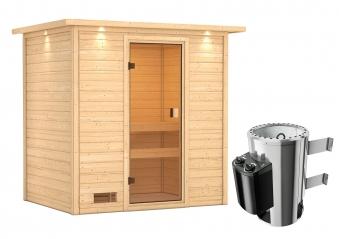 Woodfeeling Sauna Selena 38mm Dachkranz 230V Saunaofen 3,6 kW intern Bild 7