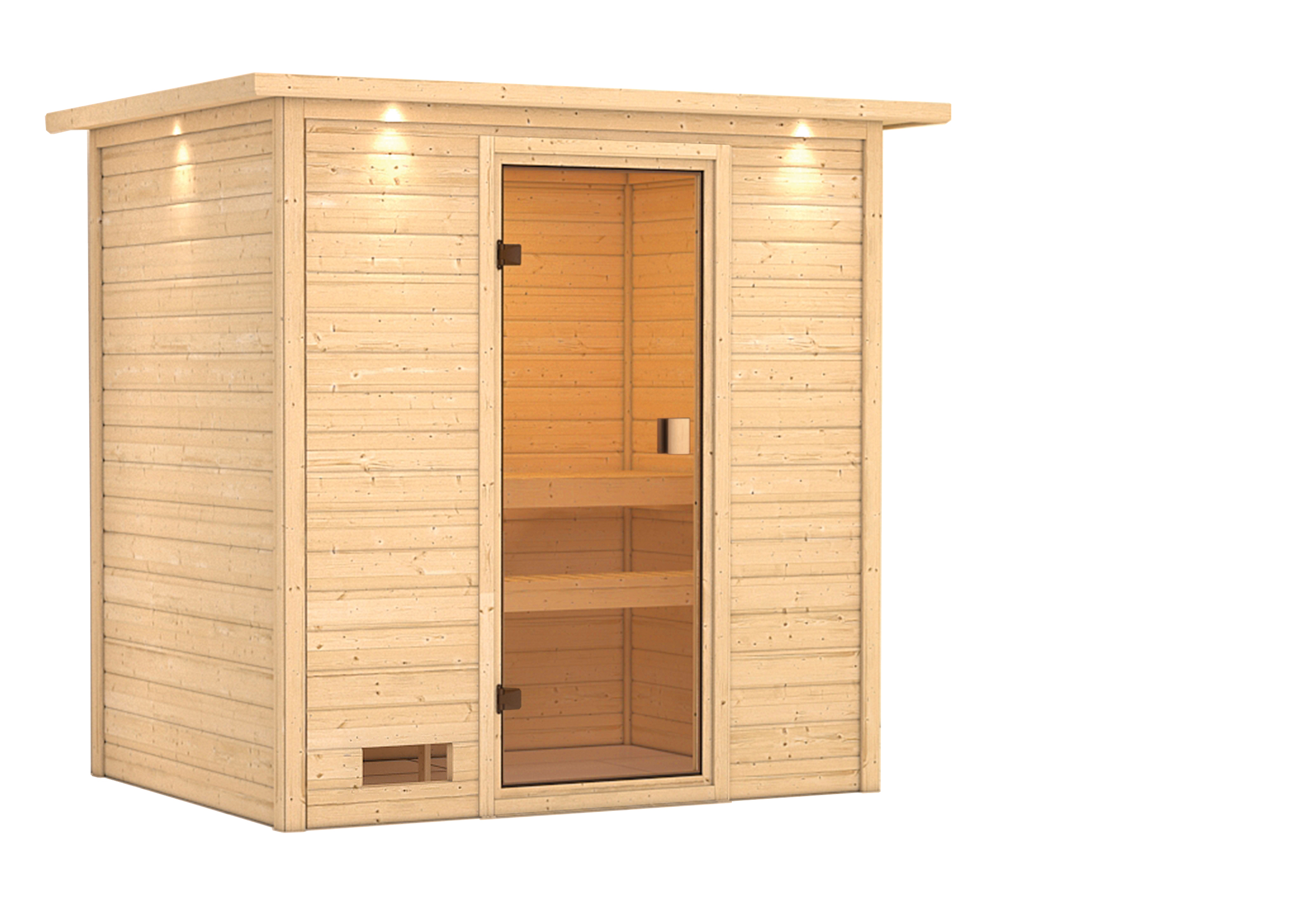 Woodfeeling Sauna Selena 38mm Dachkranz ohne Saunaofen Bild 4