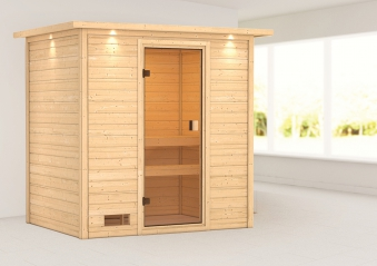 Woodfeeling Sauna Selena 38mm Dachkranz ohne Saunaofen Bild 1
