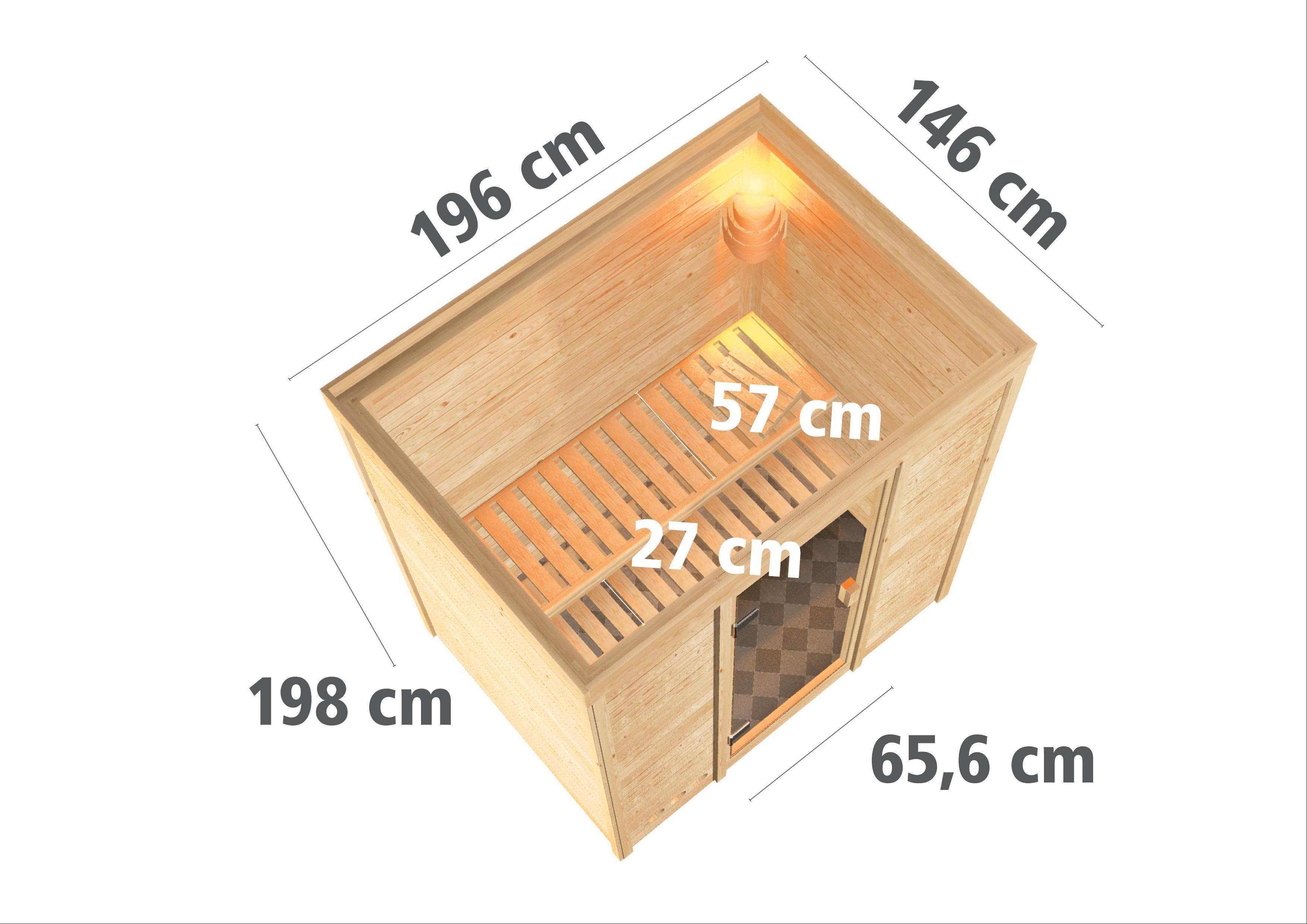 Woodfeeling Sauna Sonja 38mm mit Bio Saunaofen 9 kW extern Classic Tür Bild 3