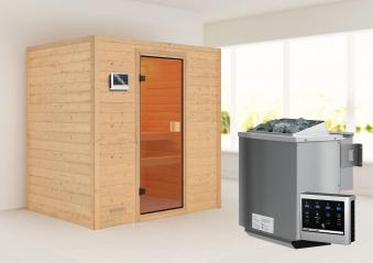 Woodfeeling Sauna Sonja 38mm mit Bio Saunaofen 9 kW extern Classic Tür Bild 1